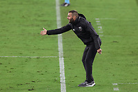 NASHVILLE, TN - SEPTEMBER 23: Head coach Ben Olsen of DC United yells at his players during a game between D.C. United and Nashville SC at Nissan Stadium on September 23, 2020 in Nashville, Tennessee.