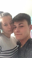 Pictured: Corey Sharpling with partner Marsha Spittle, who has been named locally as the young man who died when a landslide hit the A484 road in Cwmduad near Carmarthen, Wales, UK.<br /> Re: A landslide caused by Storm Callum has caused the death of 21 year old Corey Sharpling in Cwmduad, near Carmarthen, in west Wales, UK.