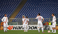 Calcio, andata dei sedicesimi di finale di Europa League: Roma vs Feyenoord. Roma, stadio Olimpico, 19 febbraio 2015.<br /> From left, Roma's Daniele De Rossi, Radja Nainggolan, Miralem Pjanic and Francesco Totti reacts after Feyenoord scored the equalizer goal during the Europa League round of 32 first leg football match between AS Roma and Feyenoord at Rome's Olympic stadium, 25 February 2015. The game ended 1-1.<br /> UPDATE IMAGES PRESS/Riccardo De Luca