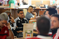 Wednesday 07 August 2013<br /> Pictured: Neil Taylor at Cardiff Airport.<br /> Re: Swansea City FC travelling to Sweden for their Europa League 3rd Qualifying Round, Second Leg game against Malmo.
