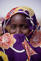 Tonkassare, Niger, West Africa.  Shy Nigerien Woman, Djerma (Zarma) Ethnic Group.  Though modest, this woman did not object to having her picture taken.
