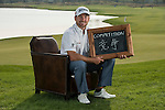 """Graeme McDowell was asked by Ballantine's at the BMW Masters to describe how he stays true to himself; his answer is shown. Ballantine's, who recently announced their new global marketing campaign, """"Stay True, Leave An Impression"""", is a sponsor at the BMW Masters, which takes place from the 24-27 October at Lake Malaren Golf Club in Shanghai.  Photo by Andy Jones / The Power of Sport Images for Ballantines."""
