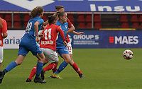 Genk's Britt Labro (17) (M), Standard's Lola Wajnblum (11) and Standard's Ellen Charlier (13) battle for the ball during a female soccer game between Standard Femina de Liege and KRC Genk Ladies  on the third matchday of the 2020 - 2021 season of Belgian Womens Super League , Saturday 3 rd of October 2020  in Liege , Belgium . PHOTO SPORTPIX.BE   SPP   SEVIL OKTEM