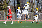Baltimore, MD - March 3: Attackmen Scott Jones #9 of the UMBC Retrievers celebrates with team after scoring a goal during the Fairfield v UMBC mens lacrosse game at UMBC Stadium on March 3, 2012 in Baltimore, MD.