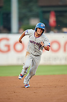 South Bend Cubs second baseman Rafael Narea (2) runs the bases during a game against the Kane County Cougars on July 23, 2018 at Northwestern Medicine Field in Geneva, Illinois.  Kane County defeated South Bend 8-5.  (Mike Janes/Four Seam Images)