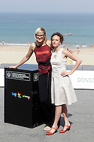 """Director Jasmila Zbanic (L) and actress Kym Vercoe (R) posse in the photocall of the """"For those who can tell no lies"""" film presentation during the 61 San Sebastian Film Festival, in San Sebastian, Spain. September 26, 2013. (ALTERPHOTOS/Victor Blanco) <br /> San Sebastian Film Festival <br /> Foto Insidefoto"""