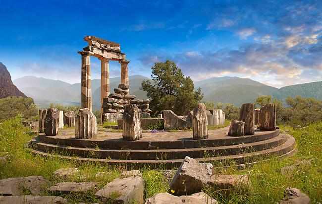 The circular Delphi Tholos temple with Doric columns, 380 BC, Sanctuary of Athena Pronaia, Delphi Archaeological Site,  Greece