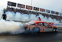Sept. 28, 2012; Madison, IL, USA: NHRA pro stock driver V. Gaines during qualifying for the Midwest Nationals at Gateway Motorsports Park. Mandatory Credit: Mark J. Rebilas-