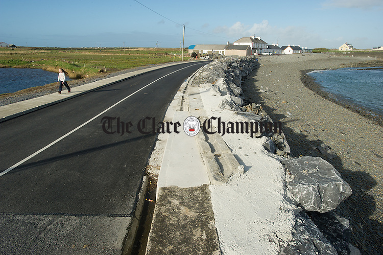 A view of the works carried out to the sea wall defences in the village of Kilbaha following the recent storms. Photograph by John Kelly.
