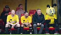 (l-r) Nick Wright, Danny Boy Hatchard, Kenny Jackett & Harry the Hornet during the Sellebrity Soccer - Celebrity & legends football match with profits going to Watford Community sports & education trust at Vicarage Road, Watford, England on 12 May 2018. Photo by Andy Rowland.