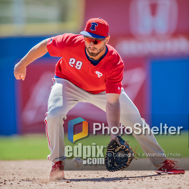 6 March 2019: Philadelphia Phillies infielder Mitch Walding warms up prior to a Spring Training game against the Toronto Blue Jays at Dunedin Stadium in Dunedin, Florida. The Blue Jays defeated the Phillies 9-7 in Grapefruit League play. Mandatory Credit: Ed Wolfstein Photo *** RAW (NEF) Image File Available ***