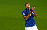 Italy's Giorgio Chiellini applauds before the start of the UEFA Nations League football match between Italy and Netherlands at Bergamo's Atleti Azzurri d'Italia stadium, October 14, 2020.<br /> UPDATE IMAGES PRESS/Isabella Bonotto