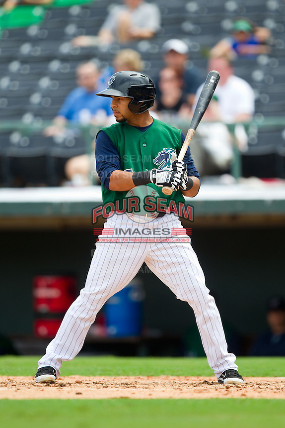 Leury Garcia (7) of the Charlotte Knights at bat against the Durham Bulls at Knights Stadium on August 18, 2013 in Fort Mill, South Carolina.  The Bulls defeated the Knights 8-5 in Game One of a double-header.  (Brian Westerholt/Four Seam Images)