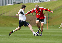 Pictured: Alan Curtis. Tuesday 06 May 2014<br /> Re: Members of the local press play football against Swansea City FC coaches and members of staff at the Club's training ground in Fairwood, south Wales.