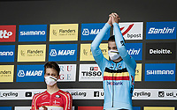 Florian Vermeersch (BEL/Lotto Soudal) is a happy boy on the podium > finishing 3rd<br /> <br /> World Championships U23 Men - ITT <br /> Time Trial from Knokke-Heist to Bruges (30.3km)<br /> <br /> UCI Road World Championships - Flanders Belgium 2021<br /> <br /> ©kramon