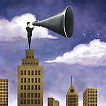 Illustrative image of businessman on top of building holding mega phone representing leadership