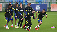 Jayden Wareham and Sam McClelland of Chelsea U19's sprint upfield in the pre-match warm up during Chelsea Under-19 vs FC Zenit Under-19, UEFA Youth League Football at Cobham Training Ground on 14th September 2021