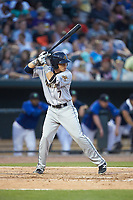 Diego Castillo (7) of the Charleston RiverDogs at bat against the Columbia Fireflies at Spirit Communications Park on June 9, 2017 in Columbia, South Carolina.  The Fireflies defeated the RiverDogs 3-1.  (Brian Westerholt/Four Seam Images)