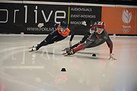 SPEEDSKATING: DORDRECHT: 06-03-2021, ISU World Short Track Speedskating Championships, Final B 500m Ladies, Xandra Velzeboer (NED), Courtney Sarault (CAN), ©photo Martin de Jong