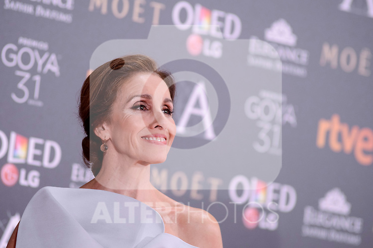 Ana Belen attends to the Red Carpet of the Goya Awards 2017 at Madrid Marriott Auditorium Hotel in Madrid, Spain. February 04, 2017. (ALTERPHOTOS/BorjaB.Hojas)
