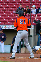 Bowling Green Hot Rods first baseman Kaleo Johnson (21) at the plate during a Midwest League game against the Cedar Rapids Kernels on May 2, 2019 at Perfect Game Field in Cedar Rapids, Iowa. Bowling Green defeated Cedar Rapids 2-0. (Brad Krause/Four Seam Images)