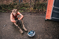 a dissapointed Pim Ronhaar (NED) post-race<br /> <br /> Junior Men's Race<br /> UCI CX Worlds 2018<br /> Valkenburg - The Netherlands