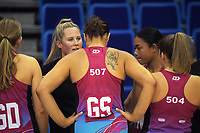 The blast huddle during the National Netball League match between Central Manawa and Southern Blast at Te Rauparaha Arena in Porirua, New Zealand on Sunday, 10 May 2021. Photo: Dave Lintott / lintottphoto.co.nz