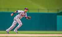 9 June 2013: Minnesota Twins infielder Pedro Florimon in action against the Washington Nationals at Nationals Park in Washington, DC. The Nationals shut out the Twins 7-0 in the first game of their day/night double-header. Mandatory Credit: Ed Wolfstein Photo *** RAW (NEF) Image File Available ***