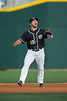 Charlotte Knights second baseman Carlos Sanchez (13) on defense against the Louisville Bats at BB&T BallPark on May 12, 2015 in Charlotte, North Carolina.  The Knights defeated the Bats 4-0.  (Brian Westerholt/Four Seam Images)