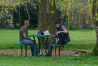High Wycombe, UK. 16th April, 2020.<br /> Public in Hughenden Park during the Covid-19 Pandemic as the UK Government advice to maintain social distancing and minimise time outside in High Wycombe on 16 April 2020. Photo by PRiME Media Images