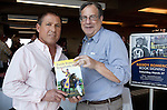 March 2010:  Ex-Jockey Randy Romero and author Bill Heller attend a book signing during Derby day at the Fair Grounds in New Orleans, La.