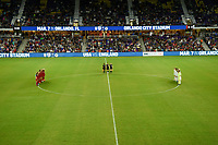 Orlando City, FL - Wednesday March 07, 2018: Moment of silence, USWNT vs England starting line up's  during a 2018 SheBelieves Cup match between the women's national teams of the United States (USA) and England (ENG) at Orlando City Stadium.