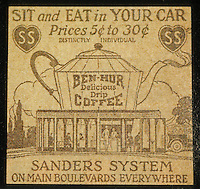 Drive-in's:  Sanders System Drive-ins:  Newspaper Ad, circa 1930. There were several of these in Los Angeles.