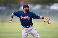 Atlanta Braves third baseman Jose Bautista (1) warmup throw to first base in the bottom of the second inning during a Minor League Extended Spring Training game against the Philadelphia Phillies on April 20, 2018 at Carpenter Complex in Clearwater, Florida.  (Mike Janes/Four Seam Images)
