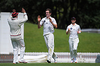Will Williams celebrates dismissing Rachin Ravindra during day three of the Plunket Shield match between the Wellington Firebirds and Canterbury at Basin Reserve in Wellington, New Zealand on Wednesday, 21 October 2020. Photo: Dave Lintott / lintottphoto.co.nz