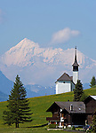 Switzerland, Canton Valais, Gluringen at valley Goms with Ritzinger field chapel and Weisshorn mountain