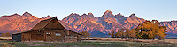One of the famous Moulton Barns at Mormon Row in the Grand Tetons, photographed at sunrise.<br /> <br /> This should be considered an illustration due to the darkening of the newly renovated roof and removal of a vehicle from the background.