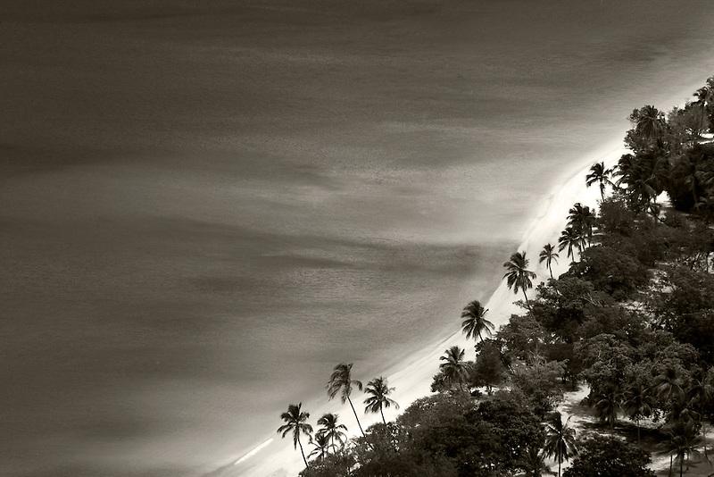 Megans bay beach with palm trees. St. Thomas. US Virgin Islands.