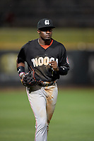 Chattanooga Lookouts left fielder Taylor Trammell (7) jogs to the dugout during a Southern League game against the Birmingham Barons on May 1, 2019 at Regions Field in Birmingham, Alabama.  Chattanooga defeated Birmingham 5-0.  (Mike Janes/Four Seam Images)