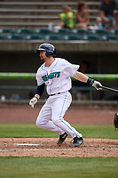 Lynchburg Hillcats second baseman Dillon Persinger (38) follows through on a swing during the first game of a doubleheader against the Potomac Nationals on June 9, 2018 at Calvin Falwell Field in Lynchburg, Virginia.  Lynchburg defeated Potomac 5-3.  (Mike Janes/Four Seam Images)