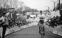 Zdenek Stybar (CZE) crossing the finishline 2nd in his last (?) cx-race this season (before getting back to training for the upcoming roadcycling season)<br /> <br /> GP Sven Nys 2014
