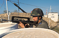 "- French soldier control a checkpoint during a NATO ""peacekeeping"" military exercise in Friuli ....- militare francese  presidia un checkpoint durante esercitazione NATO di ""peacekeeping"" in Friuli"