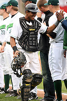 September 9 2008:  Catcher Miguel Fermin of the Jamestown Jammers, Class-A affiliate of the Florida Marlins, during a game at Russell Diethrick Park in Jamestown, NY.  Photo by:  Mike Janes/Four Seam Images