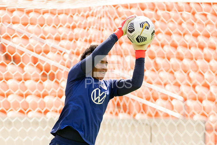 HOUSTON, TX - JUNE 9: Adrianna Franch #21 of the USWNT warms up during a training session at BBVA Stadium on June 9, 2021 in Houston, Texas.