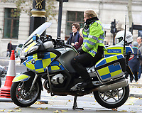 Under current Covid-19 Lockdown conditions all forms of policing is required to keep Public order in London and beyond. With a number of expected demonstrations taking place in the capital, the Metropoltan Police mobilised staffing from all quarters. Territorial Support Group (TSG) the Met's Public Order operating unit, Mounted police, motorbikes and other vehicles plus a large number of officers on foot - wearing PPE. London October 24th 2020<br /> <br /> Photo by Keith Mayhew