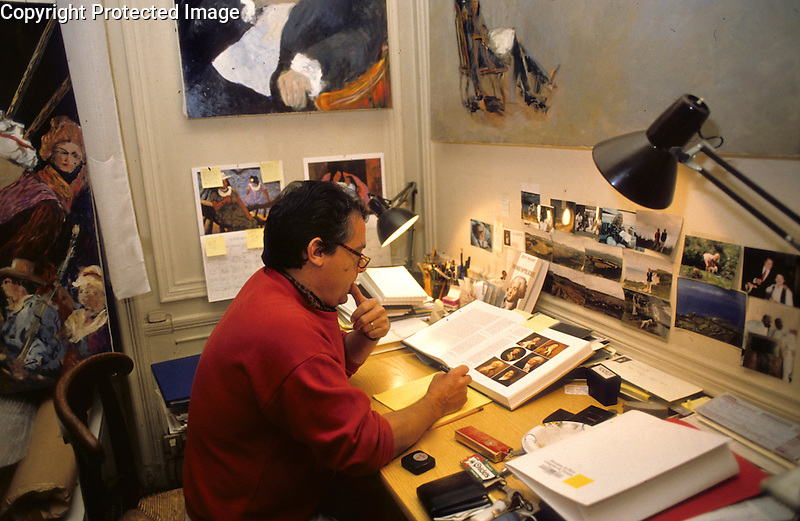 Guy Buffet in his Paris atelier studying for his commissioned body of work for the Bicentennial of the French Revolution - 1989