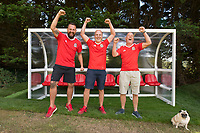"COPY BY TOM BEDFORD<br /> Pictured: Matt Evans (C) with friends in his back garden at his house in south Wales, UK<br /> Re: A soccer-mad lottery millionaire has splashed out on his own football pitch complete with a dug-out on the touchline.<br /> Former postman Matt Evans 37, turned his back garden into a mini soccer stadium so his mates can come for a kick about.<br /> The super-rich bachelor is blowing his fortune on his love for the beautiful game.<br /> He said: ""I'm living the dream by having my own pitch with lifesize goals and all the white markings.<br /> ""I invite my old workmates around for a game and we sit in the dugout to talk about football.<br /> ""My dad comes along for a game but we usually ask him to play in goal.""<br /> Matt was a £300-a-week postman three years ago using jumpers for goalposts in his local park.<br /> But after a lottery lucky dip netted him £2,604,015 he's living the life of a Premiership soccer star."