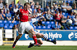 St Johnstone v Aberdeen....18.08.12   SPL.Johnny Hyaes tackled by Tam Scobbie.Picture by Graeme Hart..Copyright Perthshire Picture Agency.Tel: 01738 623350  Mobile: 07990 594431