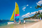 Dominikanische Republik, Juan Dolio: Strand, Segelboote | Dominican Republic, Juan Dolio: beach, sailing boats