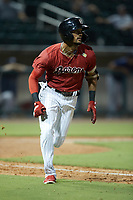Joel Booker (5) of the Birmingham Barons hustles down the first base line against the Mississippi Braves at Regions Field on August 3, 2021, in Birmingham, Alabama. (Brian Westerholt/Four Seam Images)